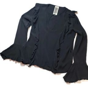 FREE PEOPLE Keyhole Blouse W/Bell Sleeves